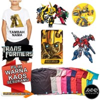 Kaos Baju anak Transformers 1-8 tahun unisex Custom Nama Combed 30s