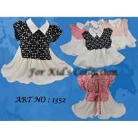 Blus anak perempuan Sz 9-12 kombinasi ikat belakang
