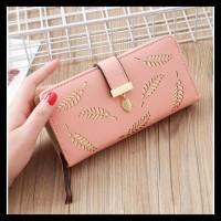 Promo Dompet Wanita Kulit Leaf Wa023P3 Pink Korea Import Murah Motif