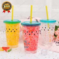 400ml Cute Watermelon Ice Bottle With Straw Lid Drinkware Juice Cup