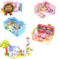 Mainan Balok Puzzle Rakit DIY Bentuk Istana 3D untuk Hadiah Anak