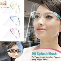 5pcs Transparent Anti-fog Saliva Face Shield Eye Protection Safety