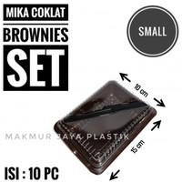 [ MIKA COKLAT SET S ] TEMPAT WADAH BROWNIS 15 X 10 X 6 FREE PISAU