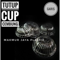 TUTUP DOME LID CEMBUNG GARIS GELAS CUP PLASTIK ISI 50 PC