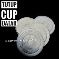 TUTUP LID DATAR POLOS GELAS CUP PLASTIK ISI 50 PC