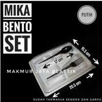 [ BENTO SET - ISI 10 PC ] MIKA BENTO SEKAT FREE SENDOK GARPU
