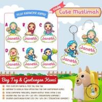Gantungan kunci custom / bag tag custom / ganci karakter cute muslimah