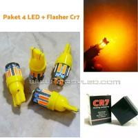 Paket Sein Sen 4 Led T10 7014 10 bar + Flasher Cr7 Motor Super Bright