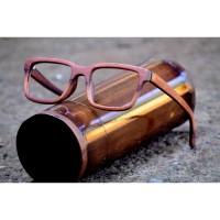 frame kacamata minus pria wanita bahan kayu sawo full kuat plus baca - paket lensa