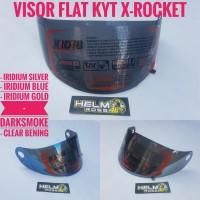KACA VISOR FLAT - KYT X-ROCKET Iridium Silver Blue Gold Darksmoke
