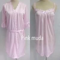 piyama baju tidur dewasa wanita kimono 2in1 cantik sexy sleepwear - Ungu