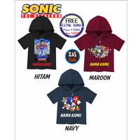 Kaos Hoodie Anak SONIC Free Nama Banyak Motif