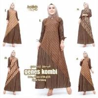 Gamis Serut Genes Kombi Dress Batik Muslim Modern Etnik Cantik Keren