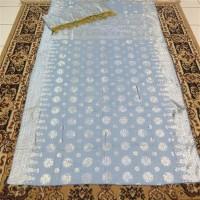 kain songket khas palembang biru silver ATBM set cantik manis