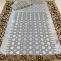kain songket khas palembang abu silver ATBM set cantik manis