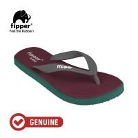 Fipper Wide / Sandal Jepit Unisex / Maroon - Green Emerald - Grey