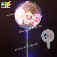Balon LED Bobo Gambar Baby Shark Mickey Unicorn Lampu Tumblr + Gagang
