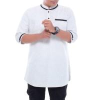 Baju Muslim Pria Premium / Baju koko / Baju Kurta pria / Gamis Pria - Putih, M