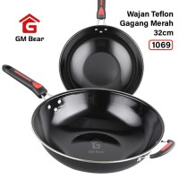 GM Bear Panci Gagang Merah 32cm 1069-Panci Penggorengan Teflon