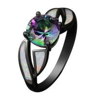Cincin dengan Batu Opal Imitasi Warna Hitam untuk Wanita