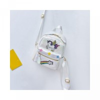 Fashion Travel Unicorn Girl Embroidery Bags Backpack Rainbow