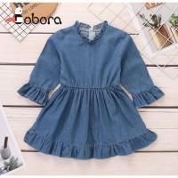 BOBORA Dress Denim Casual Bayi / Anak Perempuan Lengan Flare Panjang