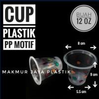 [ CUP - M 12 OZ ] GELAS CUP PP BENING PLASTIK MOTIF BUAH ISI 50 PC