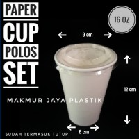 [ CUP SET - P 16 OZ ] PAPERCUP COLD PUTIH POLOS + TUTUP LID ISI 50 PC