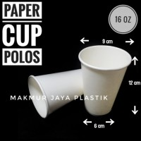 [ CUP - P 16 OZ ] PAPERCUP COLD PUTIH POLOS 16 OZ ISI 50 PC
