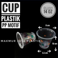 [ CUP - M 14 OZ ] GELAS CUP PP BENING PLASTIK MOTIF BUAH ISI 50 PC