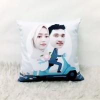Bantal couple Karikatur Custom Wajah Size 40 x 40 cm - Couple series