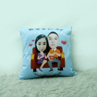 Bantal couple Karikatur Custom Wajah Size 30 x 30 cm - Couple series