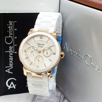 Jam Tangan Alexandre Christie AC 2517 White Rose Ladies Ori