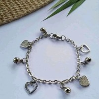 gelang rantai variasi love+lonceng monel stainless