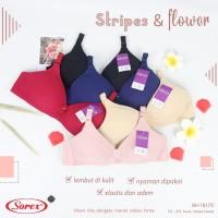 Stripes and Flower Sorex Bra - Bra Sorex Busa tanpa kawat 18170