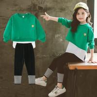 baju lebaran setelan import anak perempuan 3IN1 GREEN SET