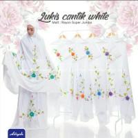 Mukena Dewasa Lukis Cantik White Aliyah Super Jumbo Katun