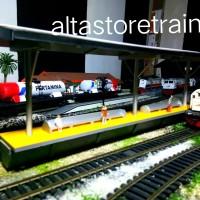 Miniatur Stasiun Kereta api Peron kuning altastoreku handmade