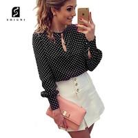 Soigni Kemeja lengan panjang wanita motif bintik fashionable dan trend