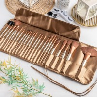 ARAMI Golden Korean Makeup Brush w/ Pouch | Set Dompet Kuas Wajah 24's