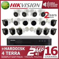 PAKET CCTV HIKVISION 2MP 16 CHANNEL AUDIO HDD 4TB
