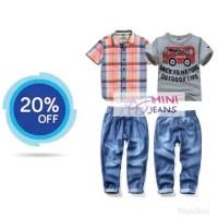 Baju anak mini jeans MJ08 2 in 1 motif mobil kemeja kotak set jeans