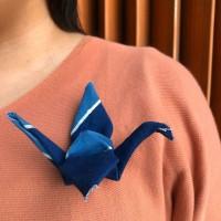 batik tulis origami crane brooch