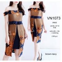 VN1073 - DRESS PESTA BATIK SABRINA DRESS BATIK WANITA MODERN MURAH