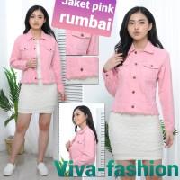 Jaket denim wanita rumbai, warna pink