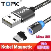 TOPK AM23 Kabel Charger Magnetic Micro USB Magnet HP Magnetik Nylon