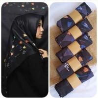 PROMO Hijab Segi Empat Motif Deenay Bueno Black Bahan Voal / Kerudung
