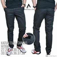 Celana Panjang Pria Chino Canvas Non Stretch Reguler Hitam Size 33-38