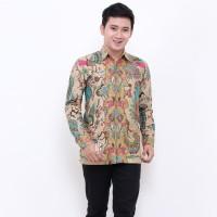 Kemeja Batik Pria Lengan Panjang Hitam Manis Bunga Labirin
