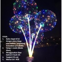Balon LED RGB LENGKAP 1/BOBO LED/Balon Lampu Tumblr 1 MODE + Gagang